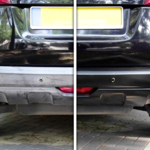 Before and after application of Polytrol to car bumper