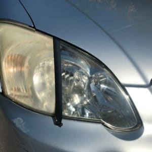Before and after application of Polytrol to car headlight