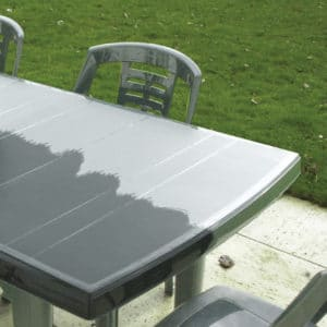 Before and after using Polytrol on garden furniture