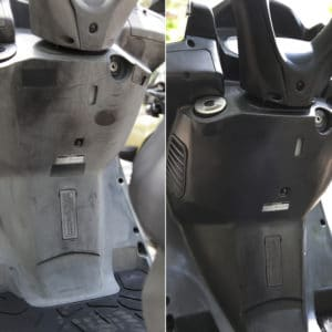 Polytrol before and after use on a moped