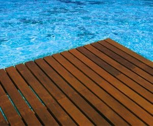 Antislip in Teak applied to pool decking