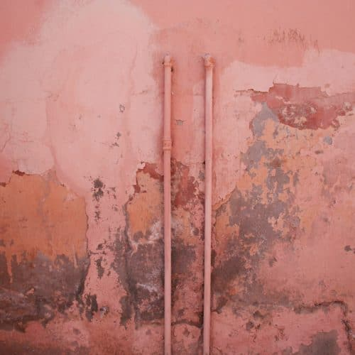 Mold and mildew on a pink wall