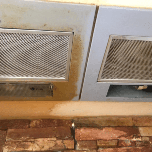 Before and after Pura-Trol application on a cooker canopy