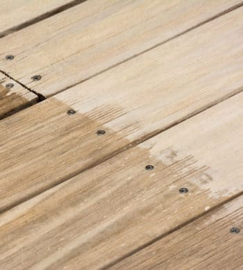 Renoclear applied to wooden deck