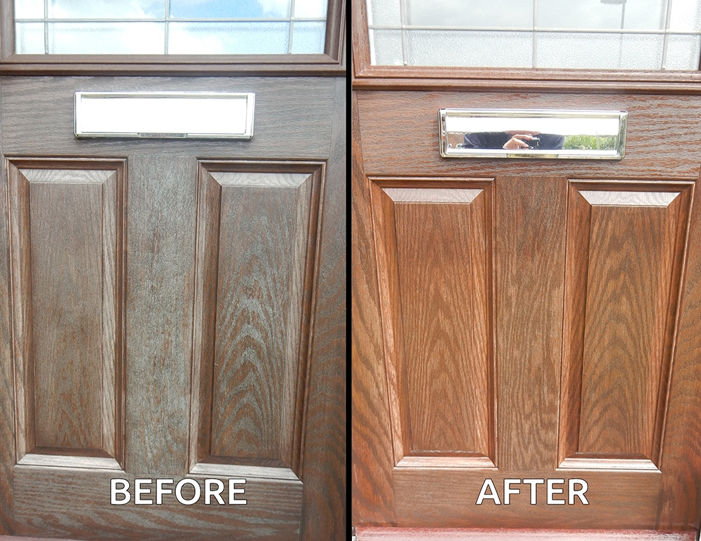Before and after using Polytrol on a composite door