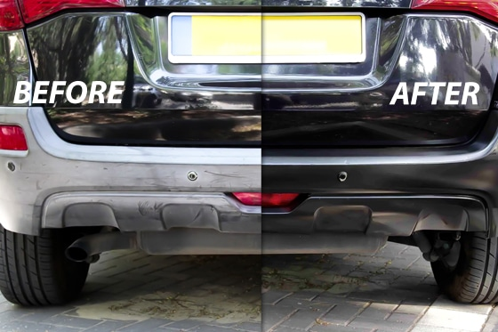 before and after using Polytrol on a car bumper