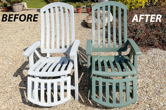 before and after using Polytrol on plastic garden chairs