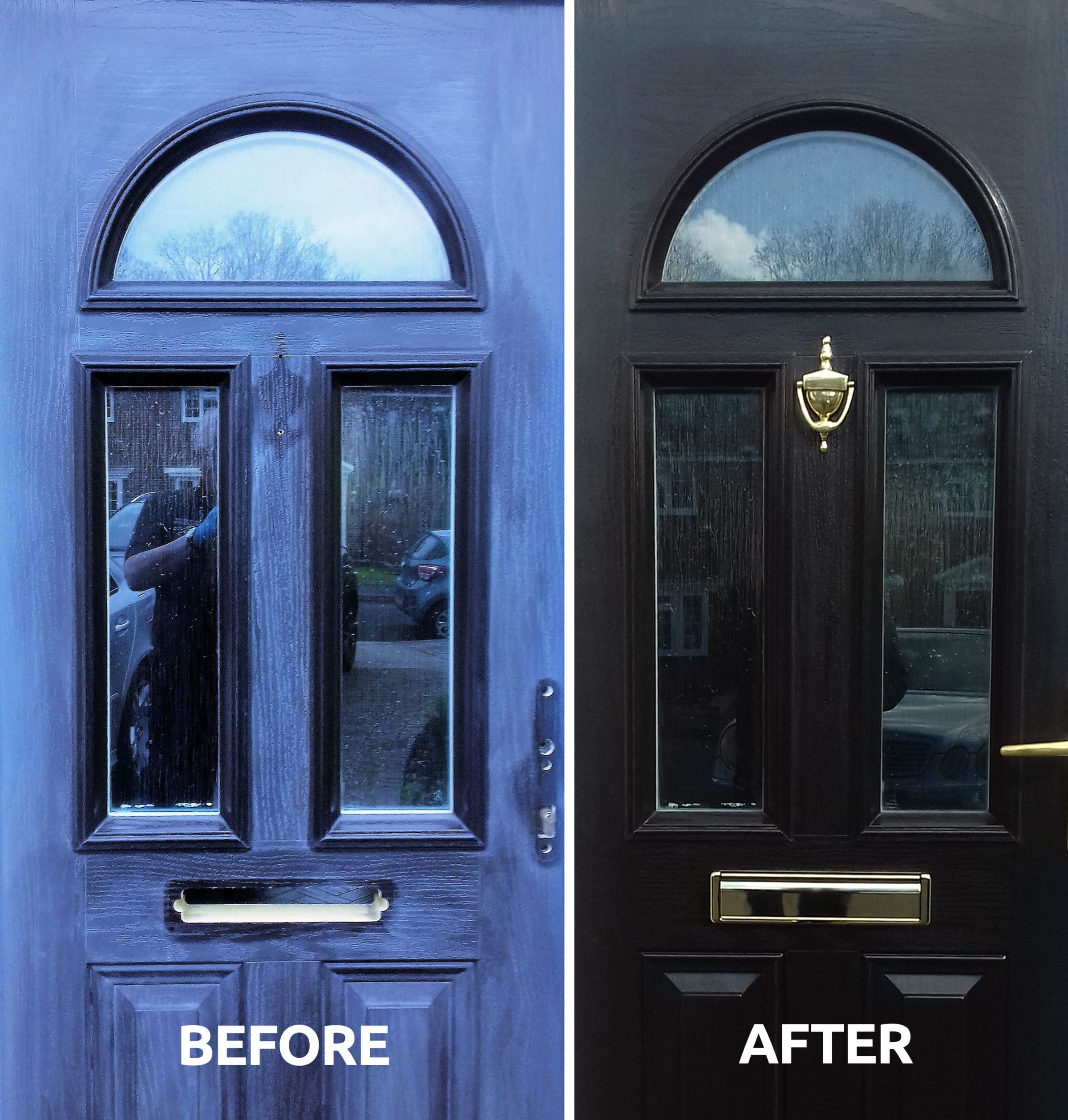 Before and after Polytrol used on a composite door