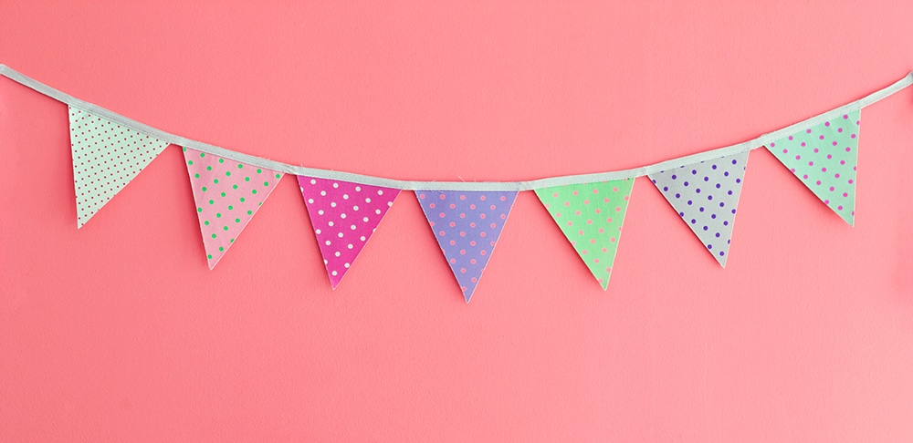 Bunting with pink background