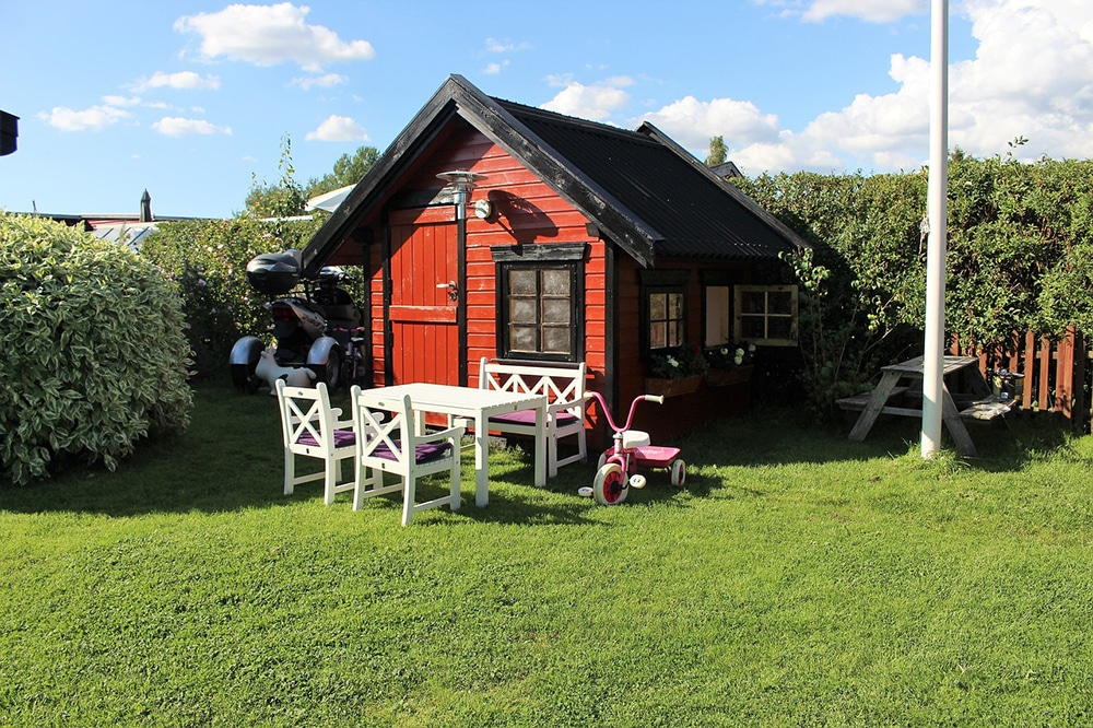 Playhouse with garden table and chairs