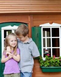 Natural wood playhouse