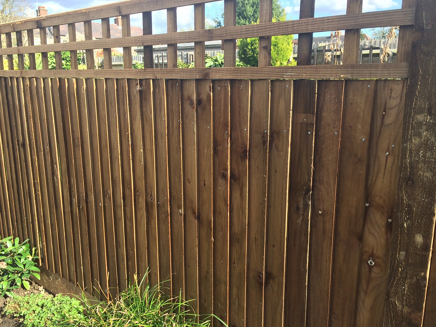 Protected wooden fence