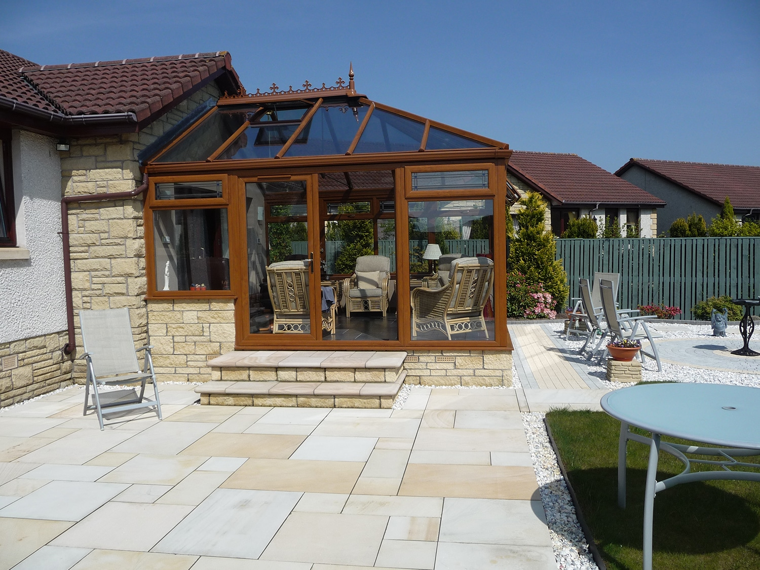Patio tiles cleaned with Net-Trol and pressure washer