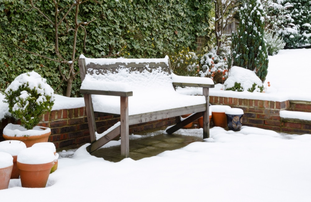 Garden bench in the snow