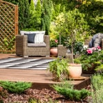 Plants and furniture on a garden deck