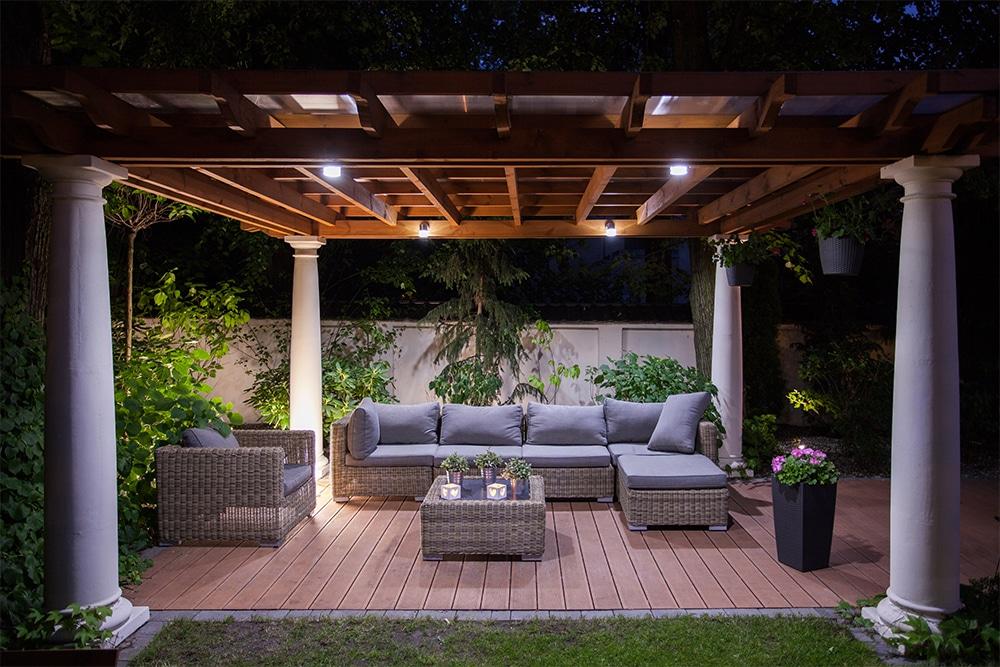 Garden deck with lighting