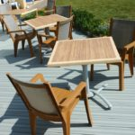 Blue Grey deck with chairs and table