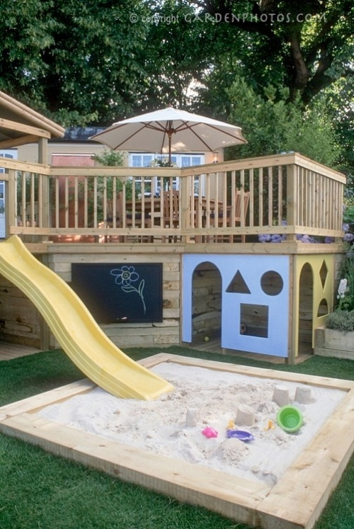 Childrens play area and garden deck